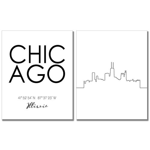 Skyline Wall Art (Chicago)