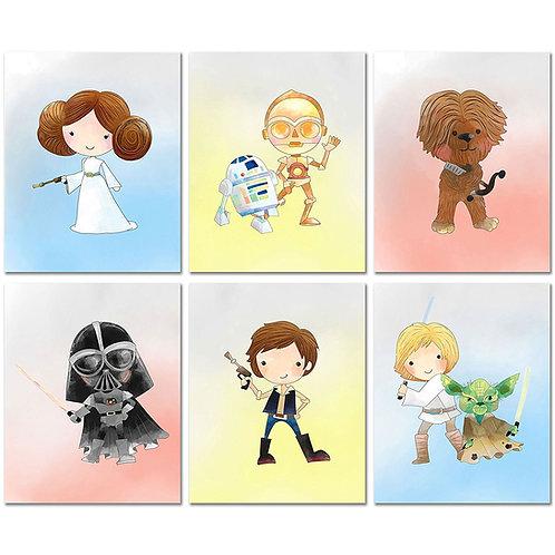 Star Wars Nursery Decor Prints - Set of Six 8x10 Watercolor Original Art Photos