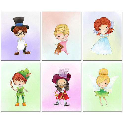 Peter Pan Kids Prints - Set of 6 Original Art Decor 8x10 Photos