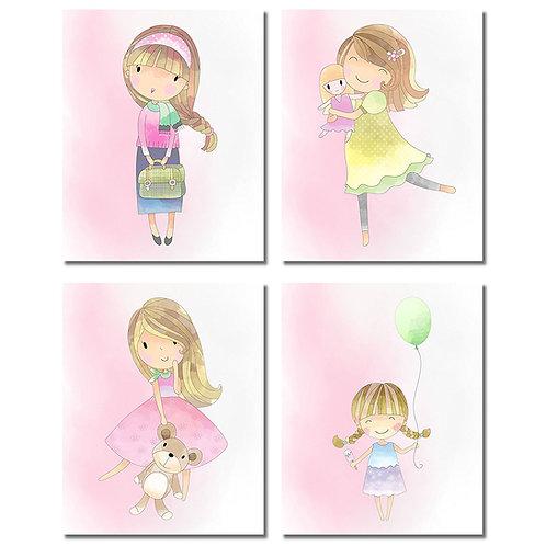 Cute Girls Bedroom Wall Art Decor Prints - Set of Four 8x10 Pink Unframed Photos