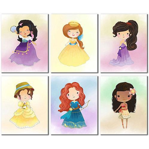 Cute Princess Art Prints - Moana Megara Merida Anastasia Jane Esmeralda Set of 6