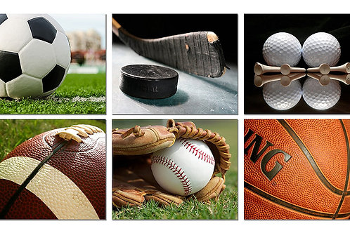 Sports Wall Art Prints - Baseball Basketball Soccer Football Golf Hockey - Set o
