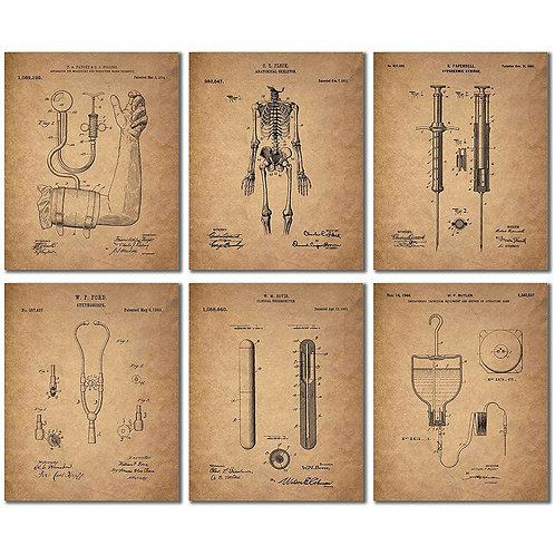 Doctor - Nurse Patent Wall Art Prints - Set of Six Vintage Medical Photos