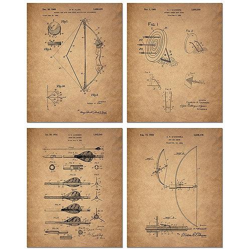 Archery Patent Art Prints - Set of Four 8 x 10 Photos - Vintage Decor