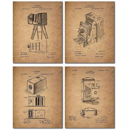 Camera Patent Prints - Set of Four Vintage Wall Art Decor Photos - Eastman Kodak