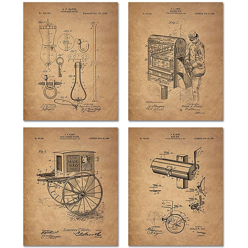 Mailman Patent Prints - Set of Four Postal Worker 8 x 10 Photos Vintage Wall Dec