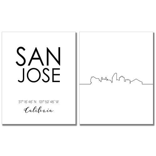 San Jose California Skyline Wall Art Prints Set of Two 8x10 Photos - City Coordi