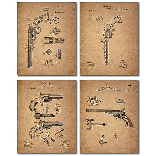 Gun Patent Wall Art Prints - Set of Four Antique Firearm Photos - Smith and Wess