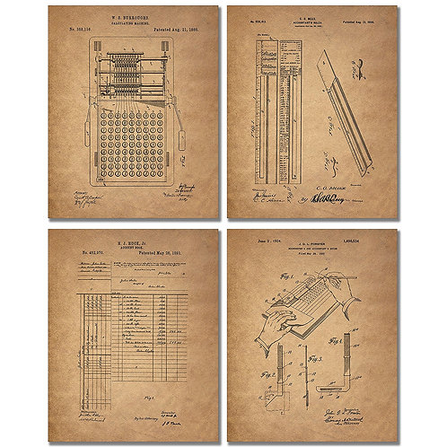 Accountant Patent Print - Set of Four Office Decor Photos - Bookkeeper Ledger