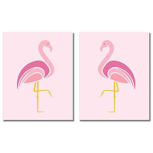 Flamingo Wall Art Prints - Set of two 8x10 Bathroom Photos
