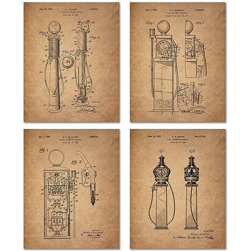 Gas Pump Patent Prints - Set of Four 8 x 10 Photos Vintage Wall Decor