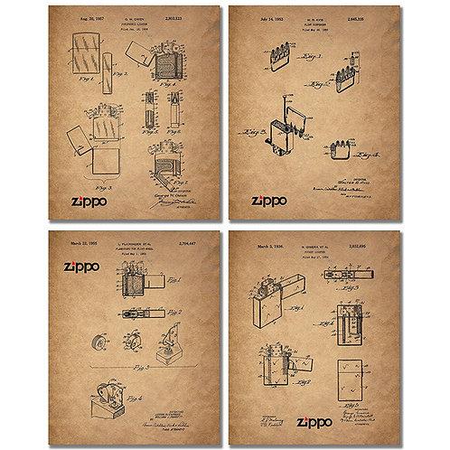 Zippo Lighter Patent Prints - Set of Four Vintage Wall Art Collector Photos