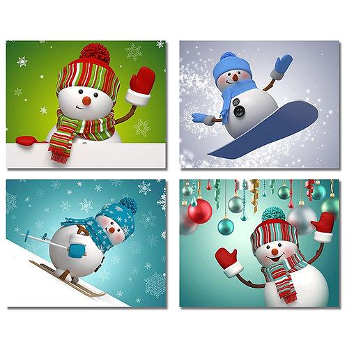 Snowman Christmas Prints - Set of Four Holiday Decor Wall Art Photos 8x10