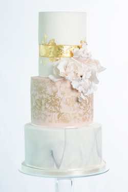 Gold and Roses bruidstaart - taart huwel