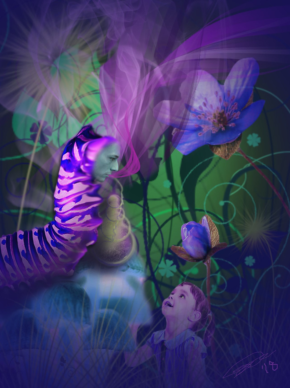 Alice and the Absolem - Photomontage and digital painting