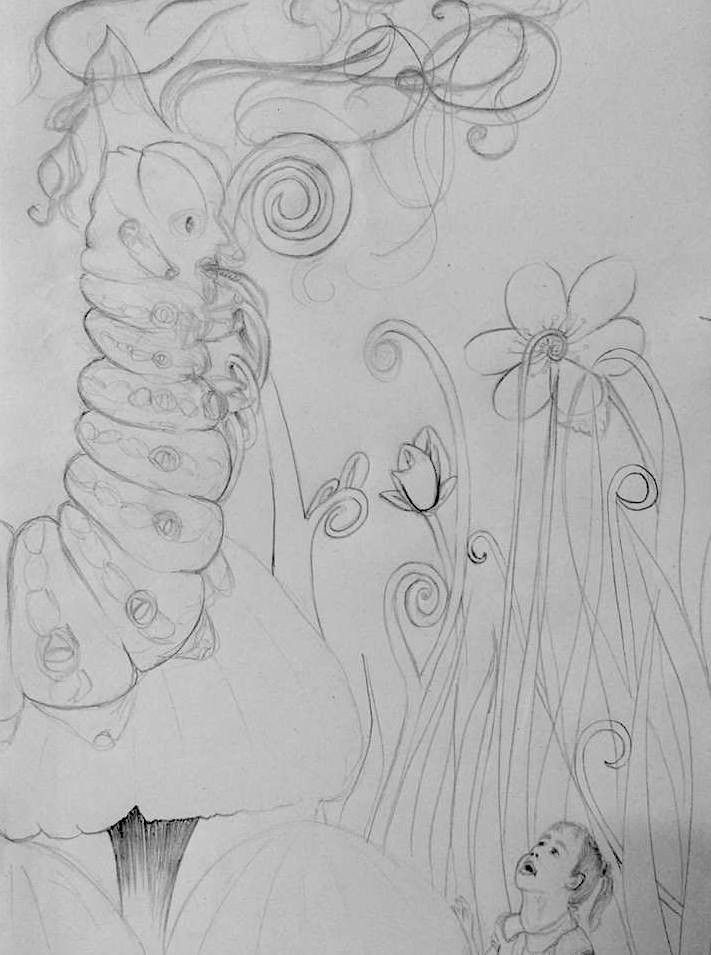 Alice and the Absolem - sketch in pencil