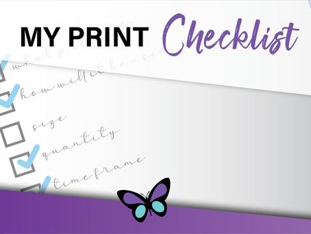 My Print Checklist
