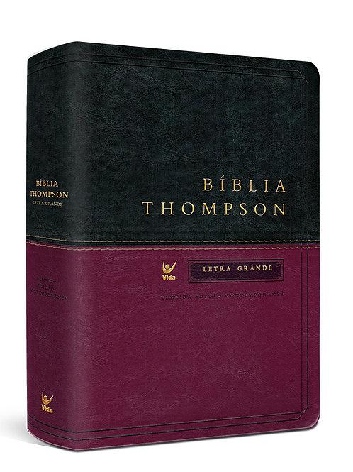 Bíblia Thompson letra grande luxo -vinho e verde