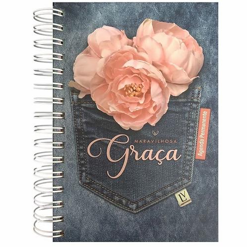 Agenda Permanente Maravilhosa Graça - Grande - Espiral - Jeans