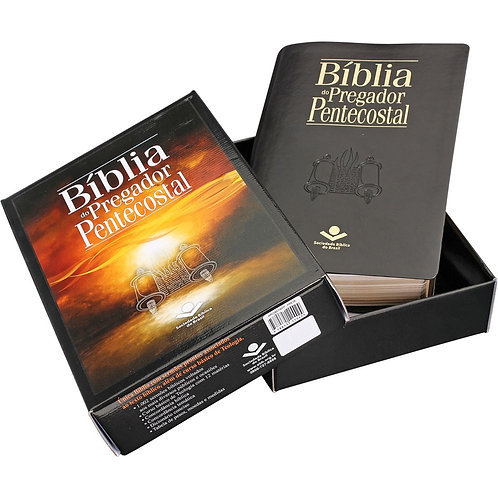 Bíblia do pregador pentecostal luxo com índice - Preta