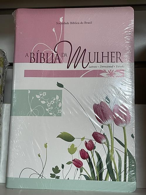 Bíblia Estudo Mulher Tulipa Borda Prata Grande Ra087bmra2