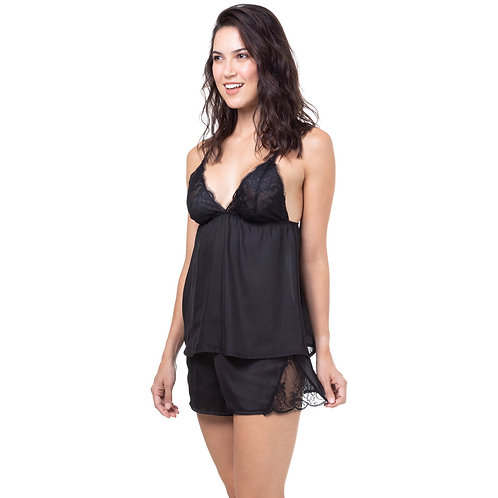 Short Doll Renda Homewear Preto