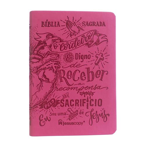 Bíblia Lettering Luxo Rosa - NAA - Capa Flexível Jesus copy