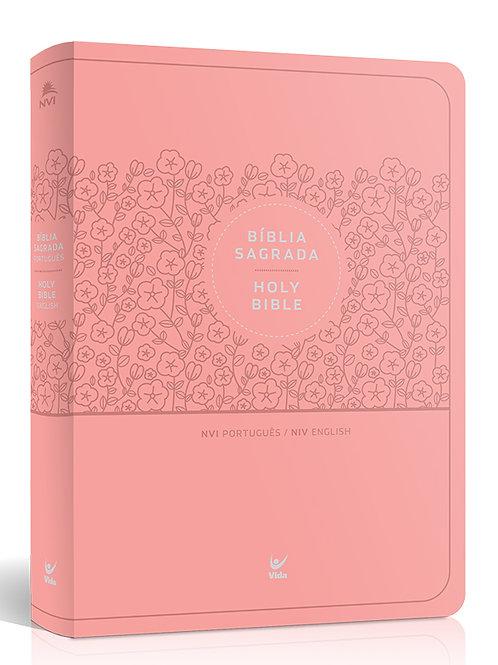 Bíblia NVI Bilíngue Português-Inglês – capa luxo rosa