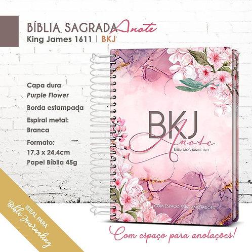 Bíblia King James Anote 1611 Bkj - Espiral Purple Flower