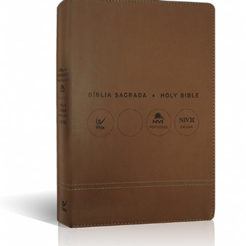 Bíblia NVI Bilíngue Português-Inglês - Capa marrom