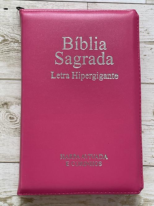 Bíblia com harpa letra Hipergigante rosa