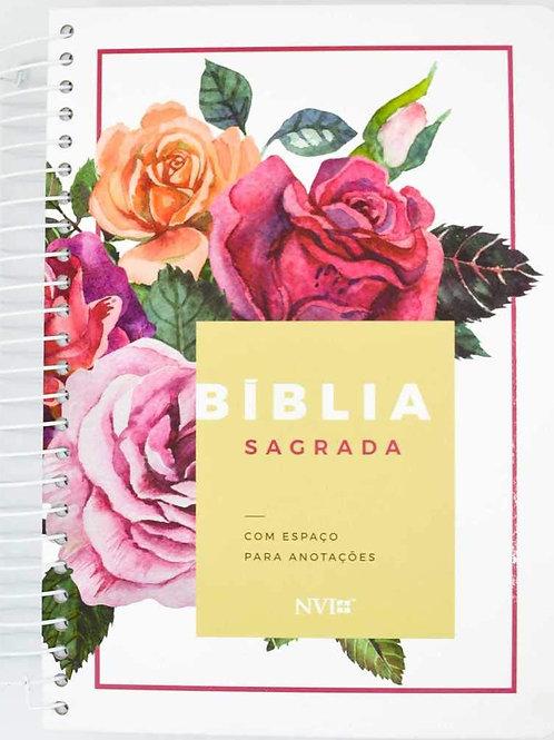 Bíblia Anote Nvi Grande Capa Espiral Floral