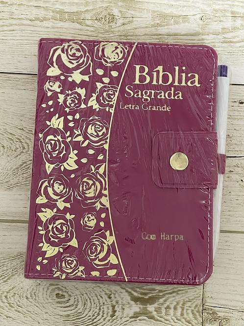 Bíblia c/harpa letra grande c/caneta rosa/pink