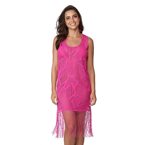 Saída de Praia Vestido Rendado Pink