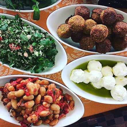Mezze Falafel labaneh tabuleh salads spread.jpg