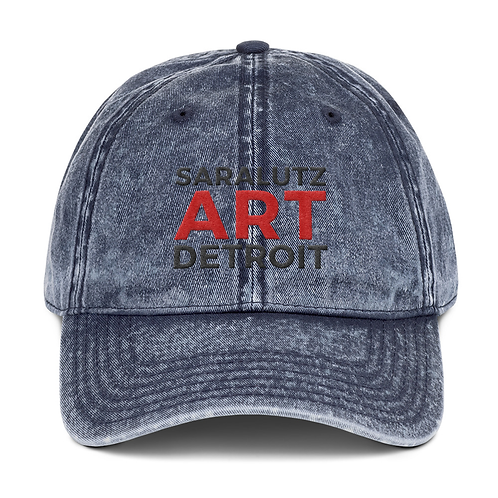 vintage wash sara lutz art detroit logo hat blue