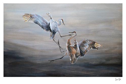 """Dueling Cranes"" Print"