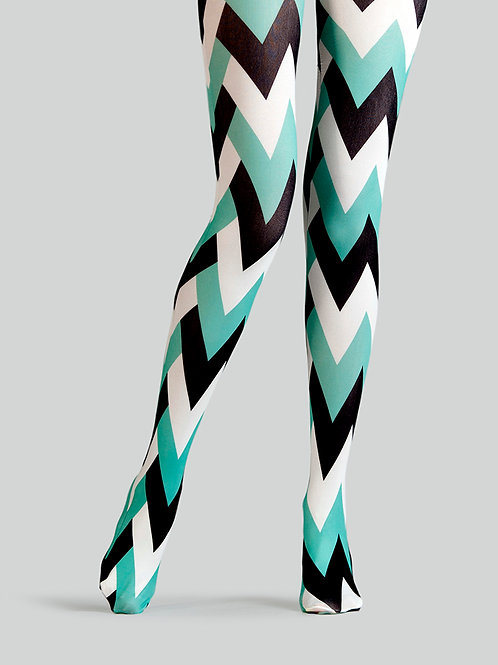 """TheHumanMade Graphic Colourful Tights - """"Swinging 60s"""" - Women's Fashion Design Hosiery Unique Gifts Graphic Womenswear"""