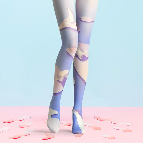 "TheHumanMade Graphic Coloured Tights - ""Arctic Light"" - Women's Fashion Unique Special Gifts Graphic Design Womenswear"