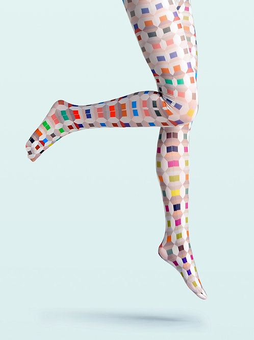 "TheHumanMade Graphic Colourful Tights - ""Colour Choco"" - Women's Fashion Design Hosiery Unique Gifts Graphic Womenswear"