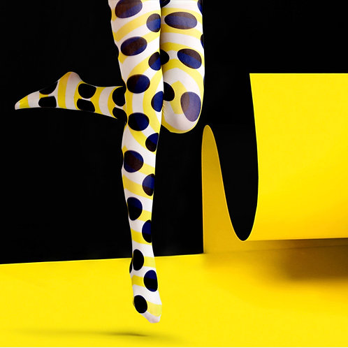 "TheHumanMade Graphic Coloured Tights - ""Kusama Pumpkin"" - Fashion Hosiery Unique Special Gifts Graphic Design Womenswear"