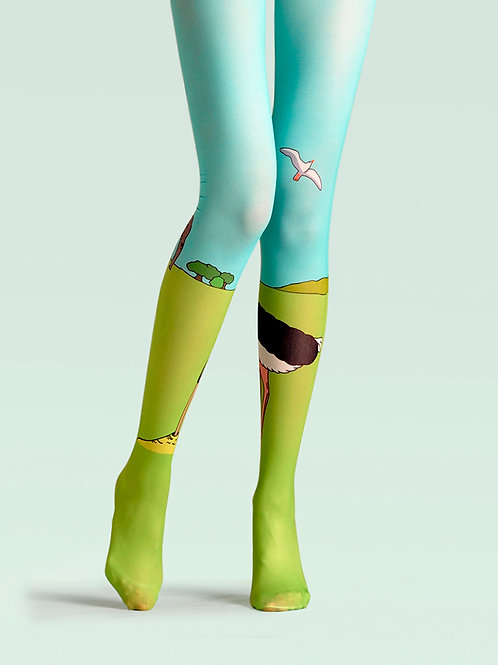"TheHumanMade Graphic Colourful Tights - ""Prairie"" - Women's Fashion Design Hosiery Unique Gifts Graphic Womenswear"