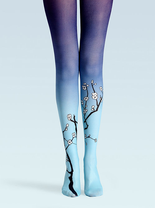 TheHumanMade Coloured Tights - Winter Flowering Plum - Women's Fashion Unique Gifts Special Gift Graphic Design