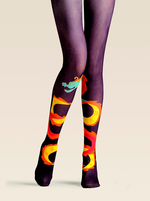 "TheHumanMade Graphic Colourful Tights - ""Legendary Dragon"" - Women's Fashion Design Hosiery Unique Gifts Graphic Womenswear"