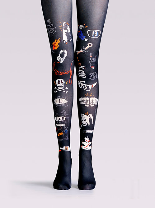 "TheHumanMade Graphic Colourful Tights - ""Magical Cat"" - Women's Fashion Design Hosiery Unique Gifts Graphic Animal Womenswear"