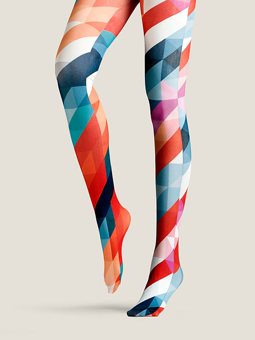 "TheHumanMade Graphic Colourful Tights - ""Rainbow Ingredients"" - Women Fashion Design Hosiery Unique Gifts Graphic Womenswear"