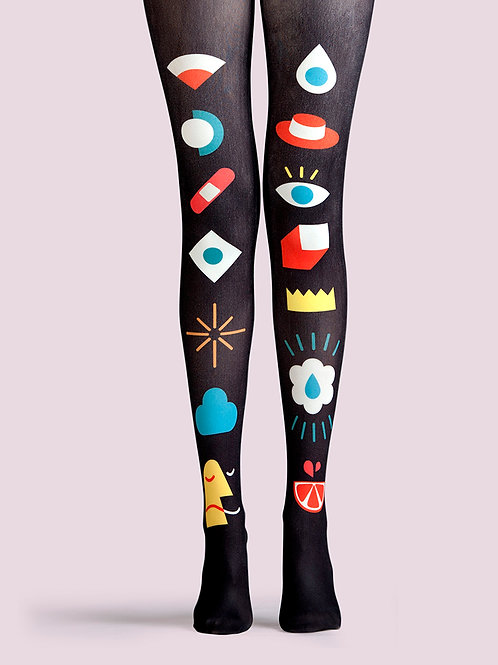 "TheHumanMade Graphic Colourful Tights - ""Pick N Mix"" - Women's Fashion Design Hosiery Unique Gifts Graphic Womenswear"