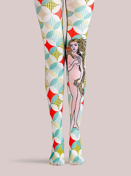 "TheHumanMade Graphic Colourful Tights - ""Botticelli Bellezza"" - Women's Fashion Unique Gifts Special Graphic Womenswear"
