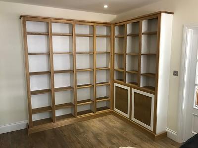 Oak bookcases and record storage