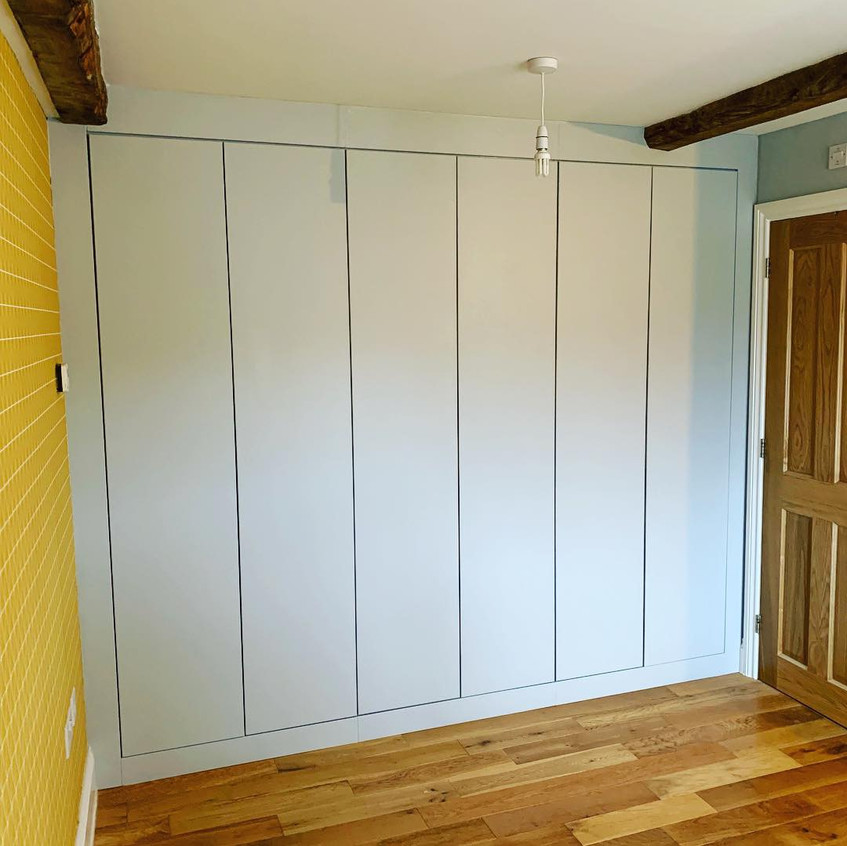 contemporary grey fitted wardrobe